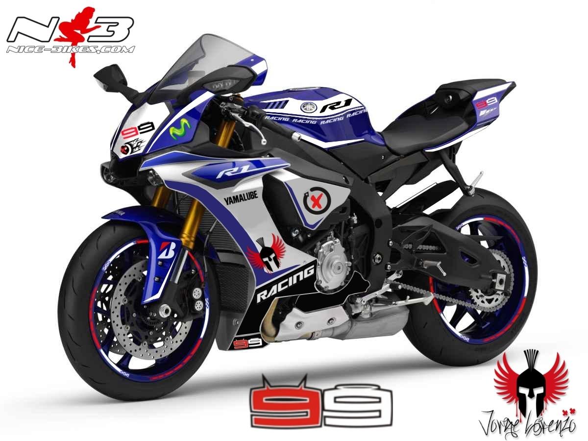 Race Style Yamaha R1 mit Startnummer 99 (blau weiß) Bj. 2015