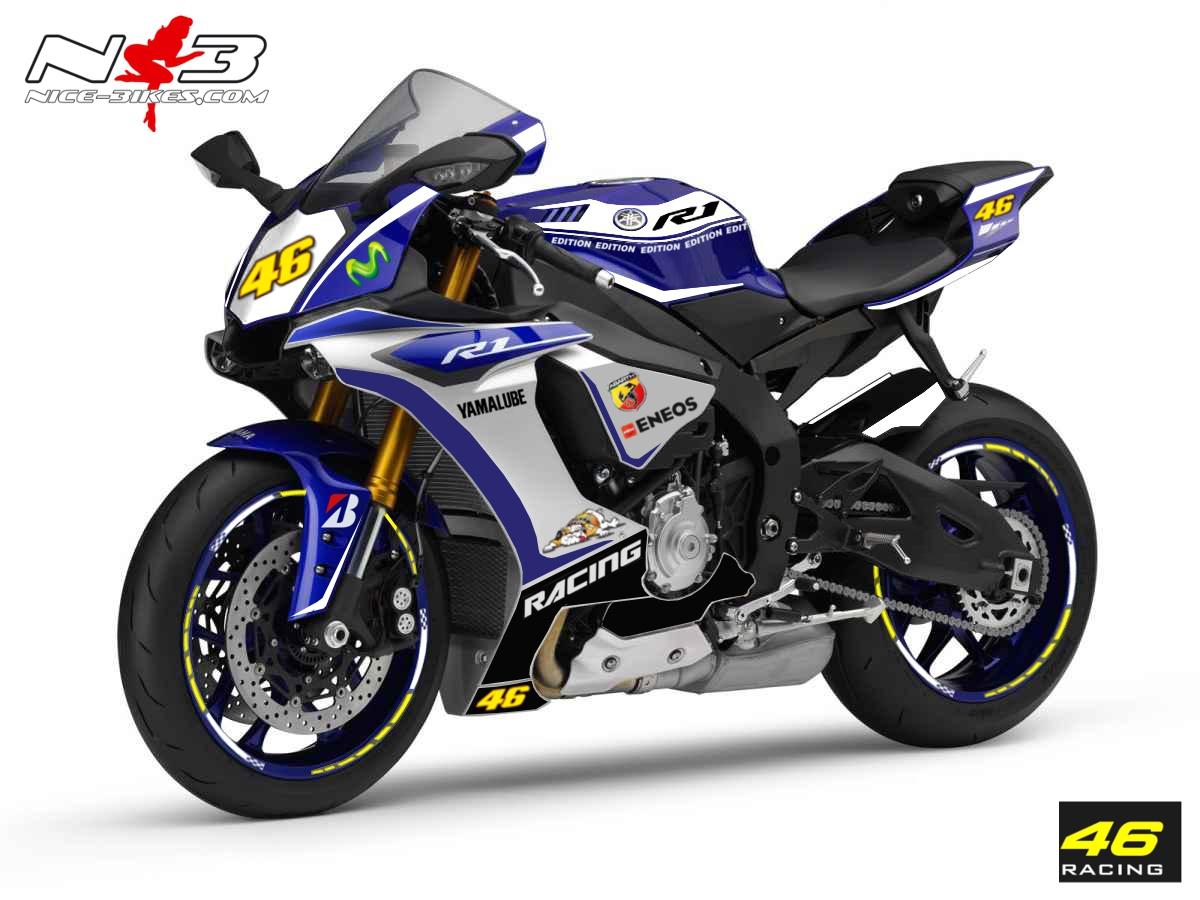 Race Style Yamaha R1 mit Startnummer 46 (blau weiß) Bj. 2015