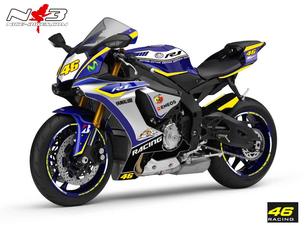 Race Style Yamaha R1 mit Startnummer 46 (blau gelb) Bj. 2015