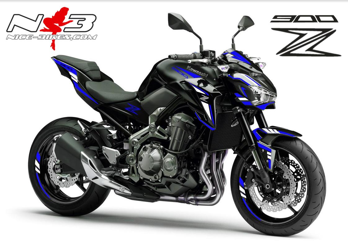 Z900 schwarz / Foliendekor blau-weiß 2018