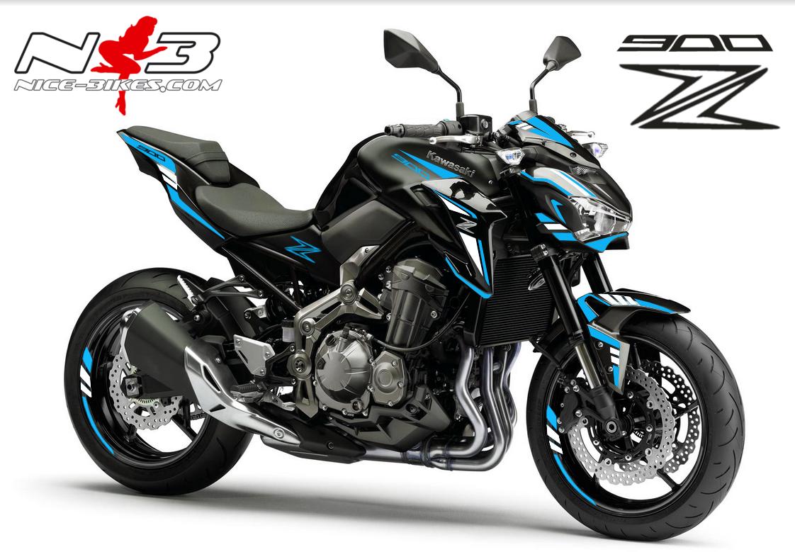 Z900 schwarz / Foliendekor hellblau-weiß 2018