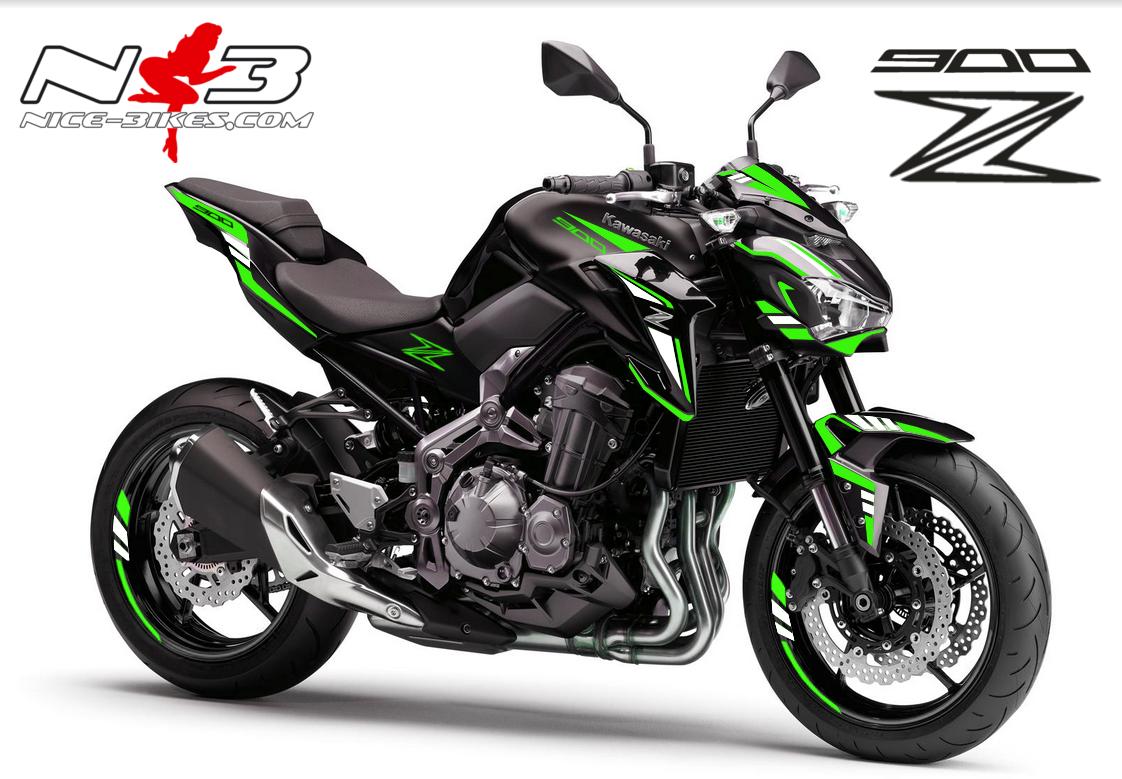 Z900 schwarz / Foliendekor limegreen-weiß 2018