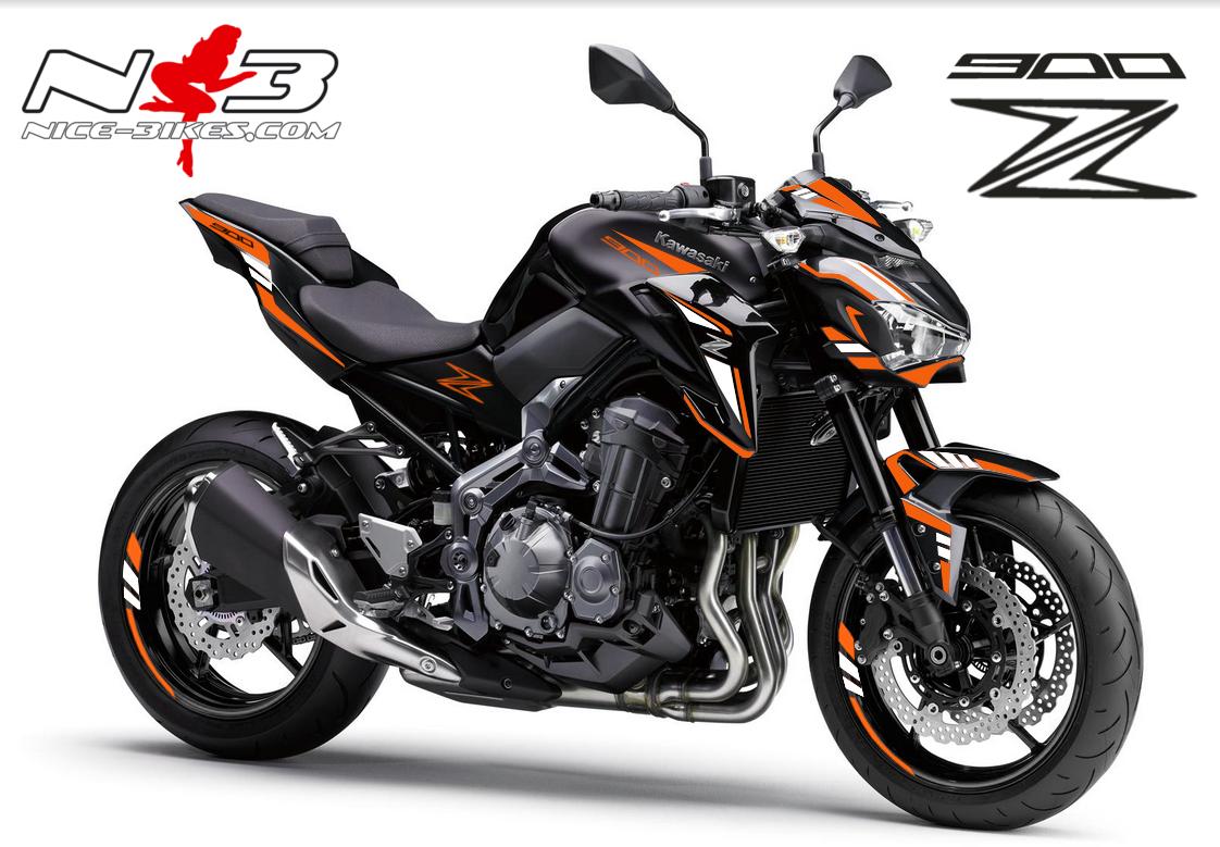 Z900 schwarz / Foliendekor orange-weiß 2018