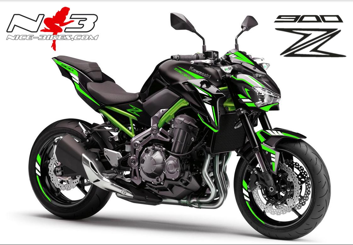 Z900 schwarz-grün / Foliendekor limegreen-weiß 2018