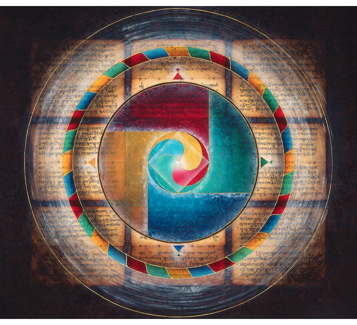 Tibetan Mandala with the Five Dhyani Buddhas