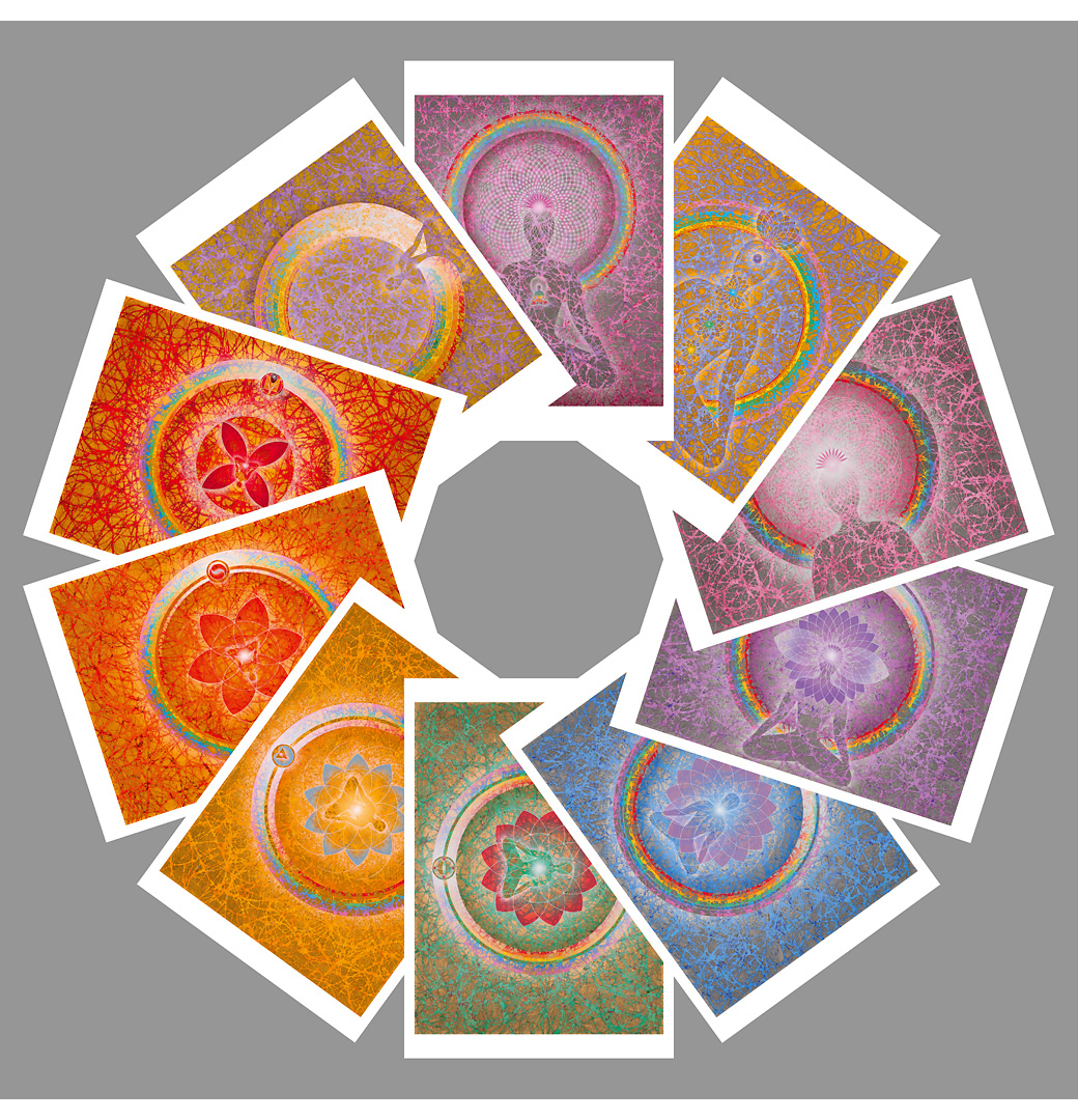 The 3 Rainbowbuddhas & the 7 Rainbowbuddha Chakras: postcard set (10 postcards)
