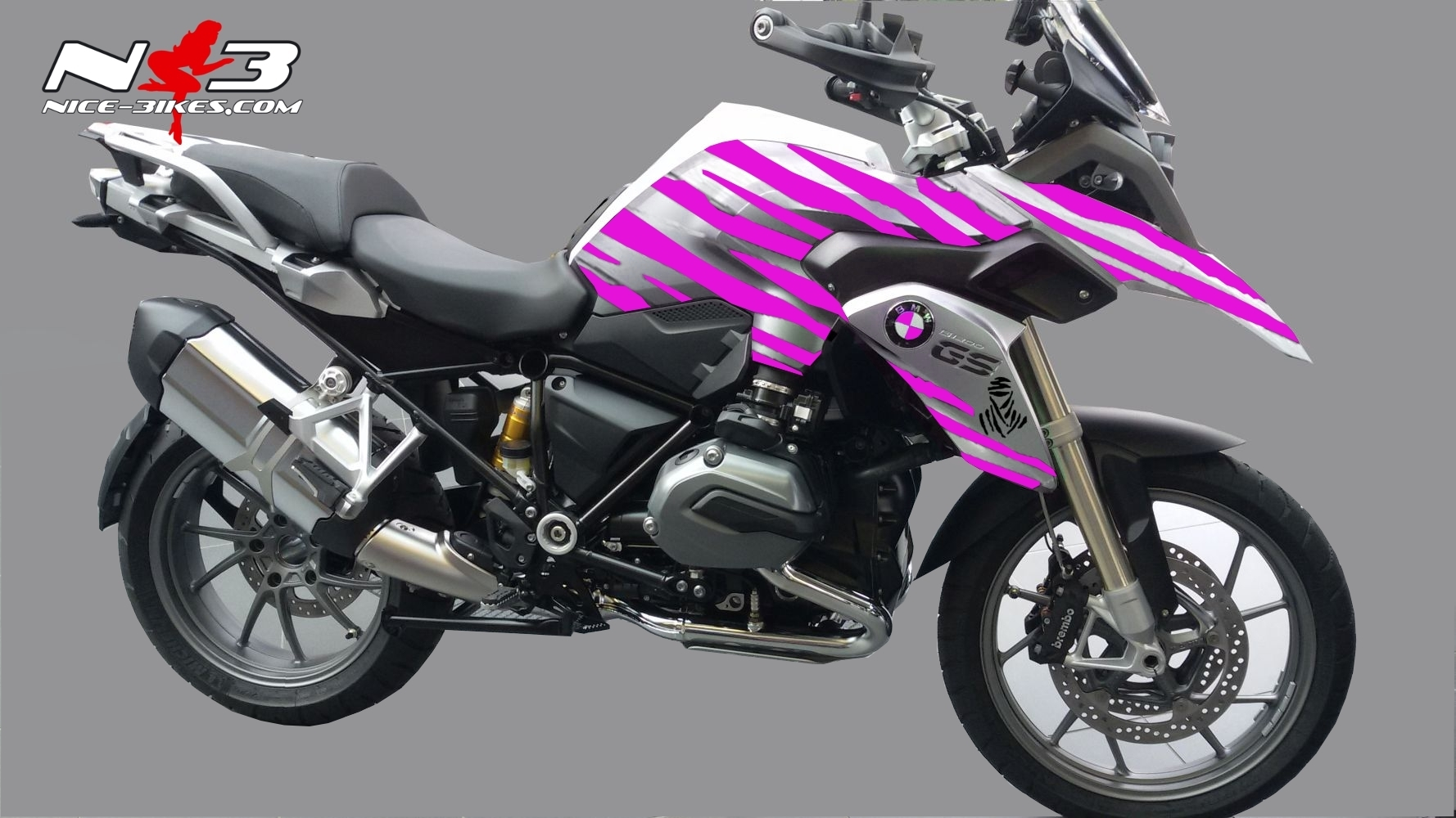 bmw gs dakar edition pink auf silberner maschine nice bikes shop. Black Bedroom Furniture Sets. Home Design Ideas