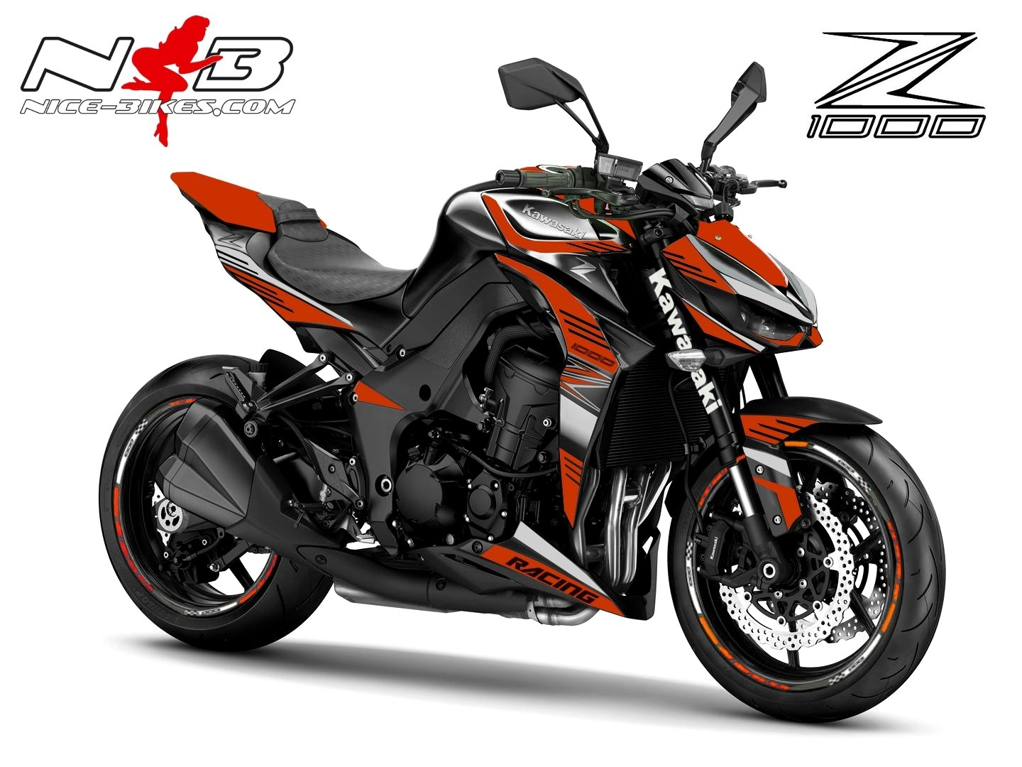 Z1000 Foliendekor orange / alu gebürstet
