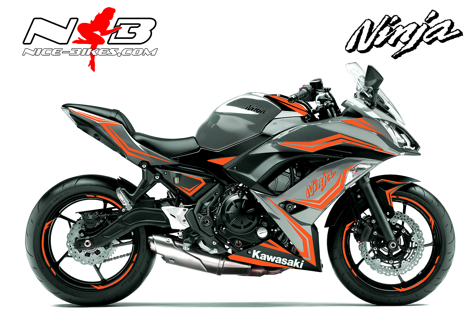 Ninja 650 Foliendekor orange für Graue Maschine 2018-