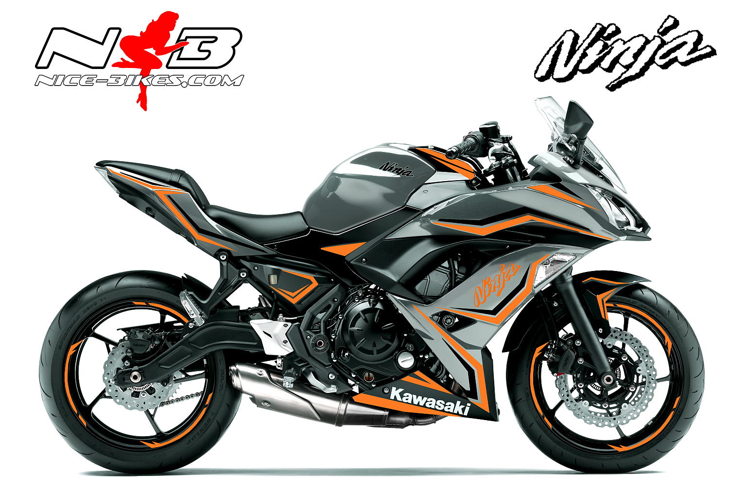 Ninja 650 Foliendekor orange/schwarz für Graue Maschine 2018-