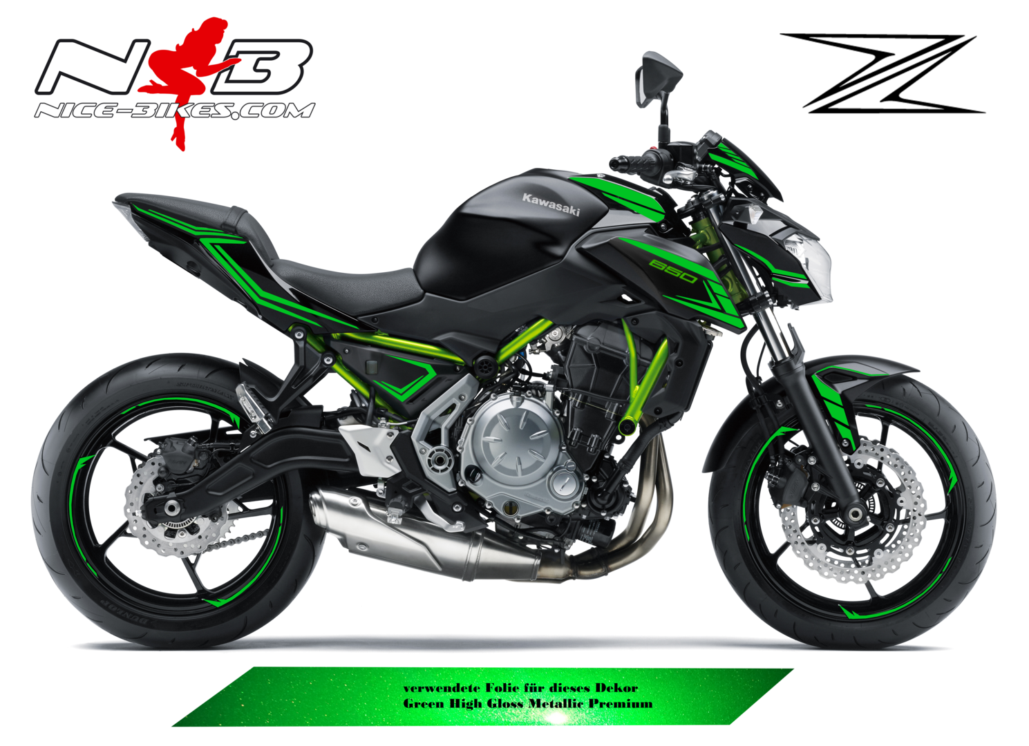 Z650 schwarz / Foliendekor mit Green High Gloss Metallic Premium Folie