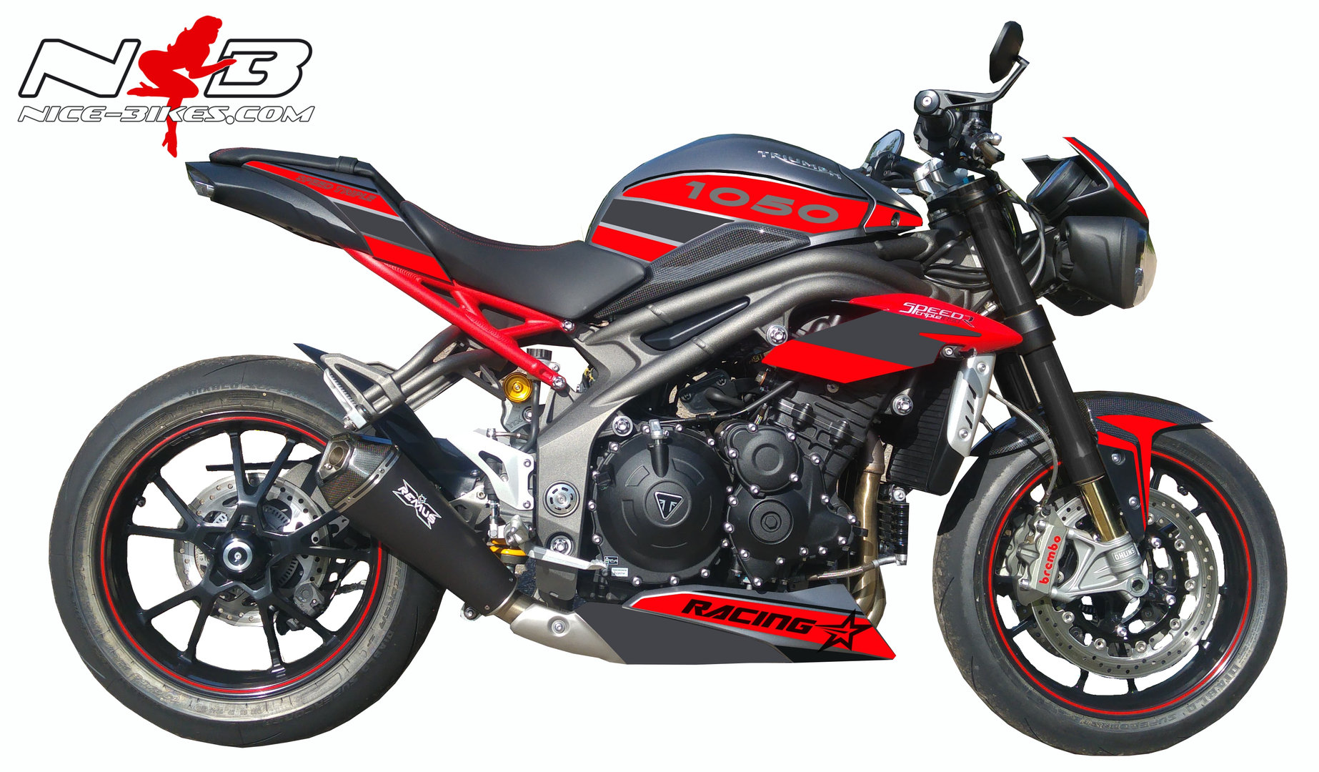 Speed Triple 1050 R Dekor rot in Hexis Superchrome Satin BJ. 2016-