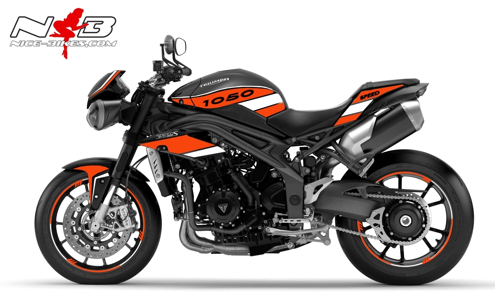 Speed Triple 1050 S Dekor orange auf schwarzer Maschine 2016-