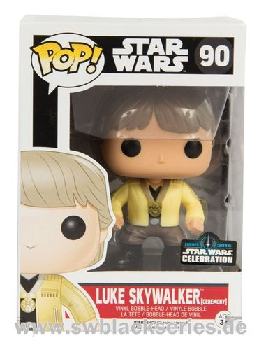 FUNKO POP STAR WARS LUKE SKYWALKER CEREMONY #90 CELEBRATION EUROPE EXCLUSIVE 2016
