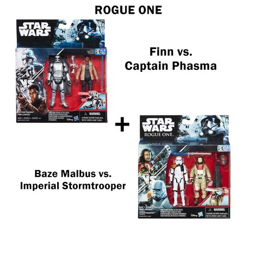 STAR WARS ROGUE ONE BAZE MALBUS VS. STORMTROOPER & FINN VS. CAPTAIN PHASMA