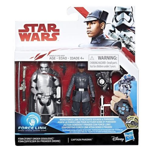 "THE LAST JEDI - FINN (FIRST ORDER DISGUISE) & CAPTAIN PHASMA 3,75"" / FORCE LINK"