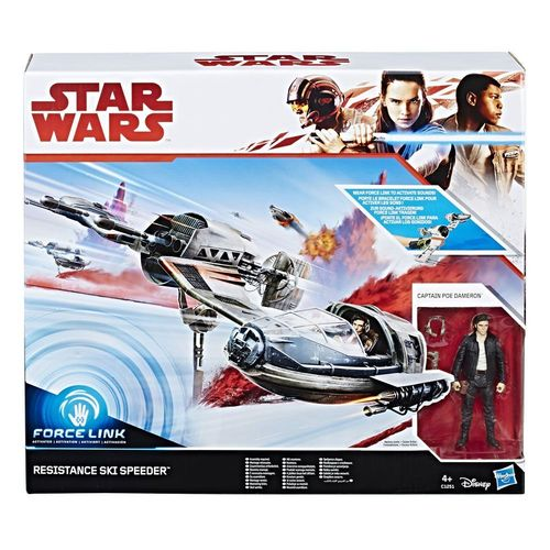 "THE LAST JEDI - RESISTANCE SKI SPEEDER + POE DAMERON 3,75"" / FORCE LINK"
