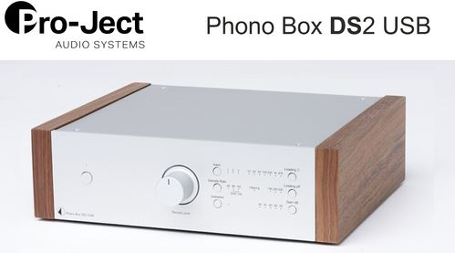 Pro-Ject Phono Box DS2 USB | silver with wooden side panels walnut