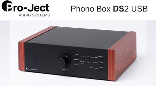 Pro-Ject Phono Box DS2 USB | black with wooden side panels rosenut