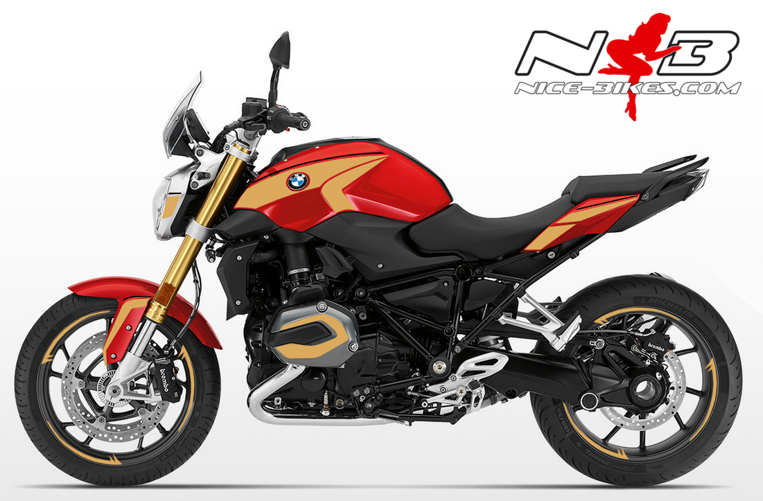 BMW R1200R Edition gold auf roter Maschine 2018