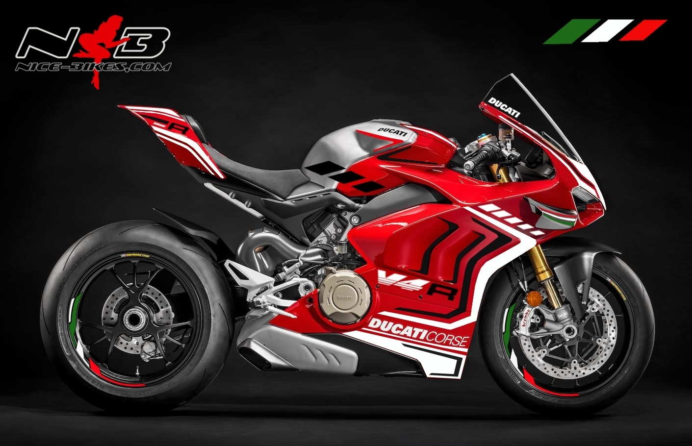 Panigale V4R tricolor auf roter Mashine