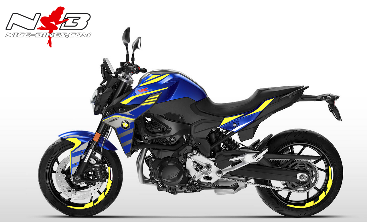 Foliendesign BMW F900 R Blue Noen Yellow