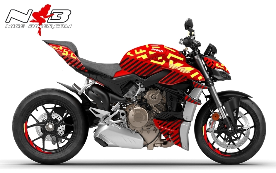 Foliendesign DUCATI Streetfighter V4S Inferno Black Neon-Gelb