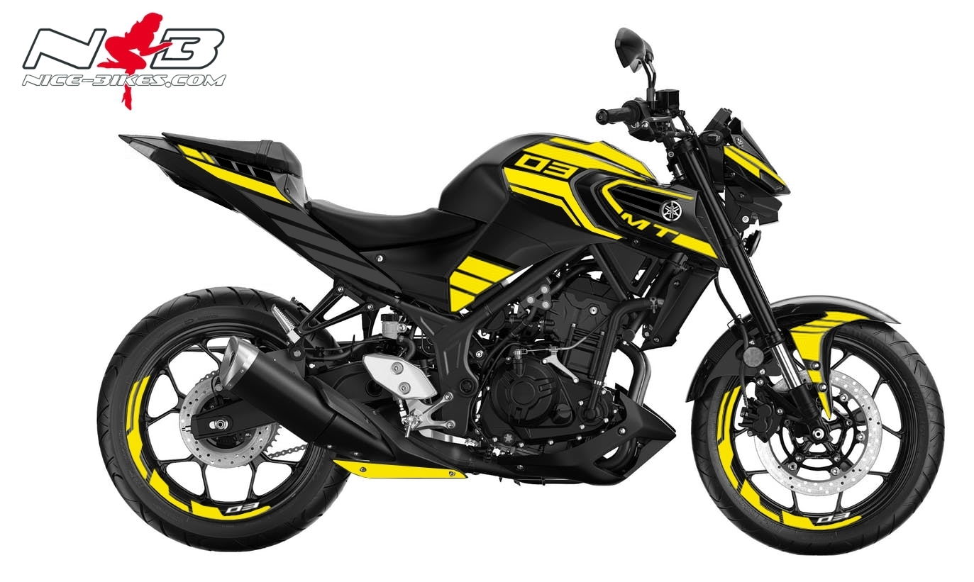 Foliendesign YAMAHA MT03 Bj. 2020 Hornet Yellow