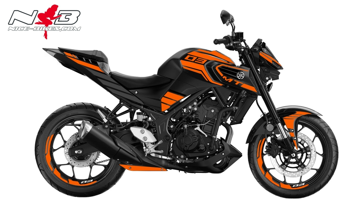 Foliendesign YAMAHA MT03 Bj. 2020 Evil Orange