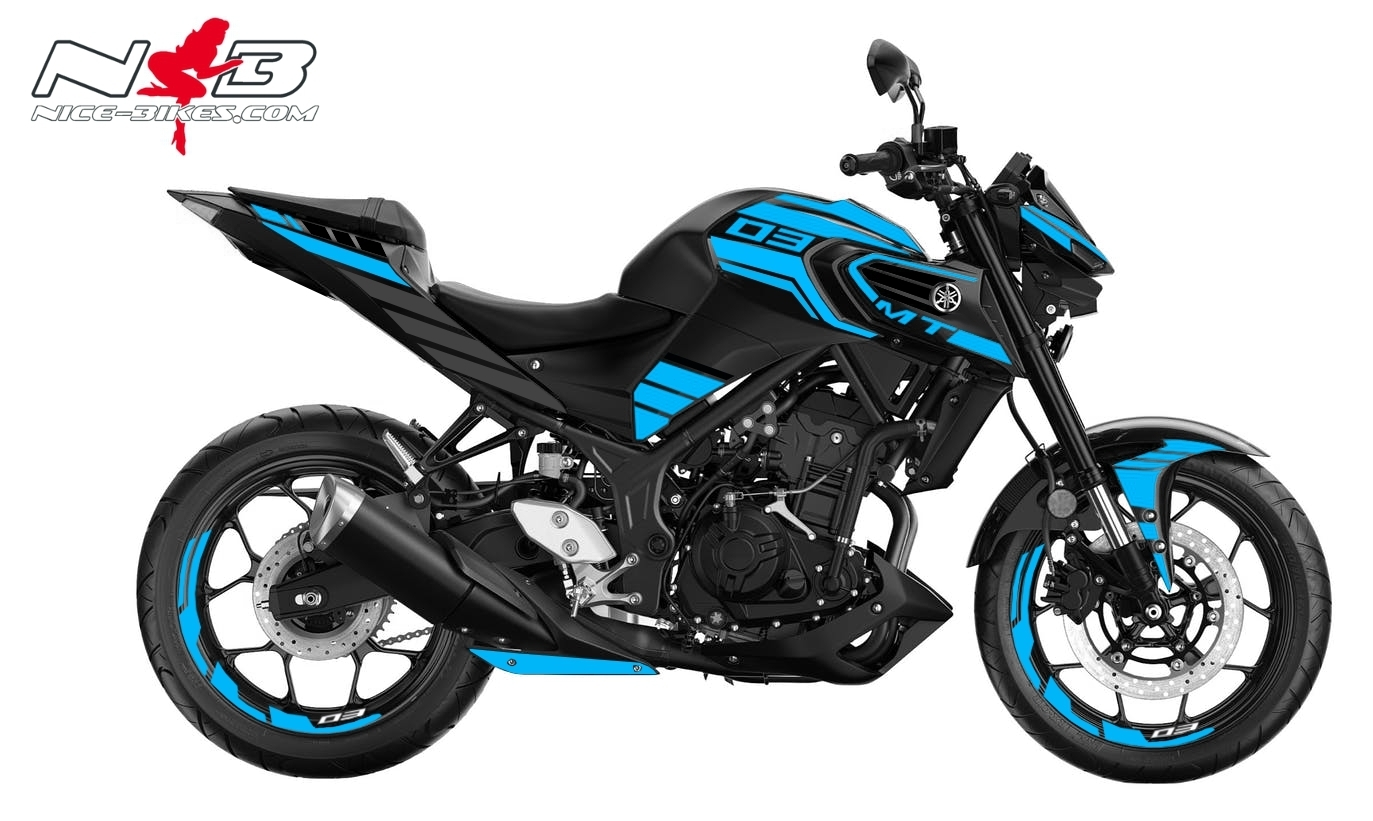 Foliendesign YAMAHA MT03 Bj. 2020 Light Blue