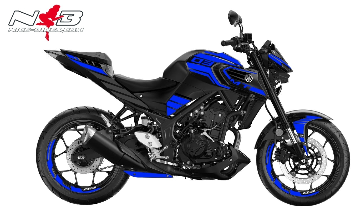Foliendesign YAMAHA MT03 Bj. 2020 Racing Blue