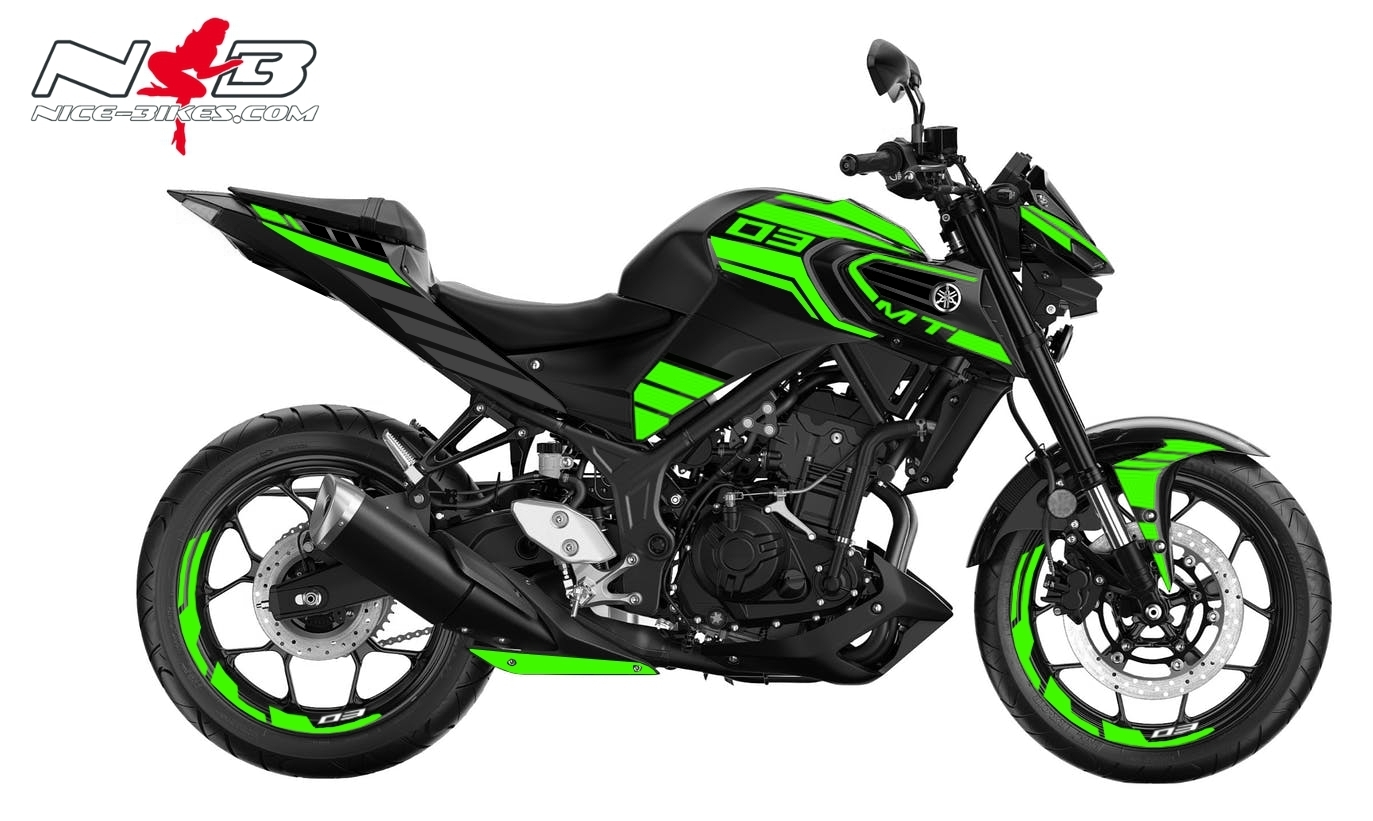 Foliendesign YAMAHA MT03 Bj. 2020 Lime Green