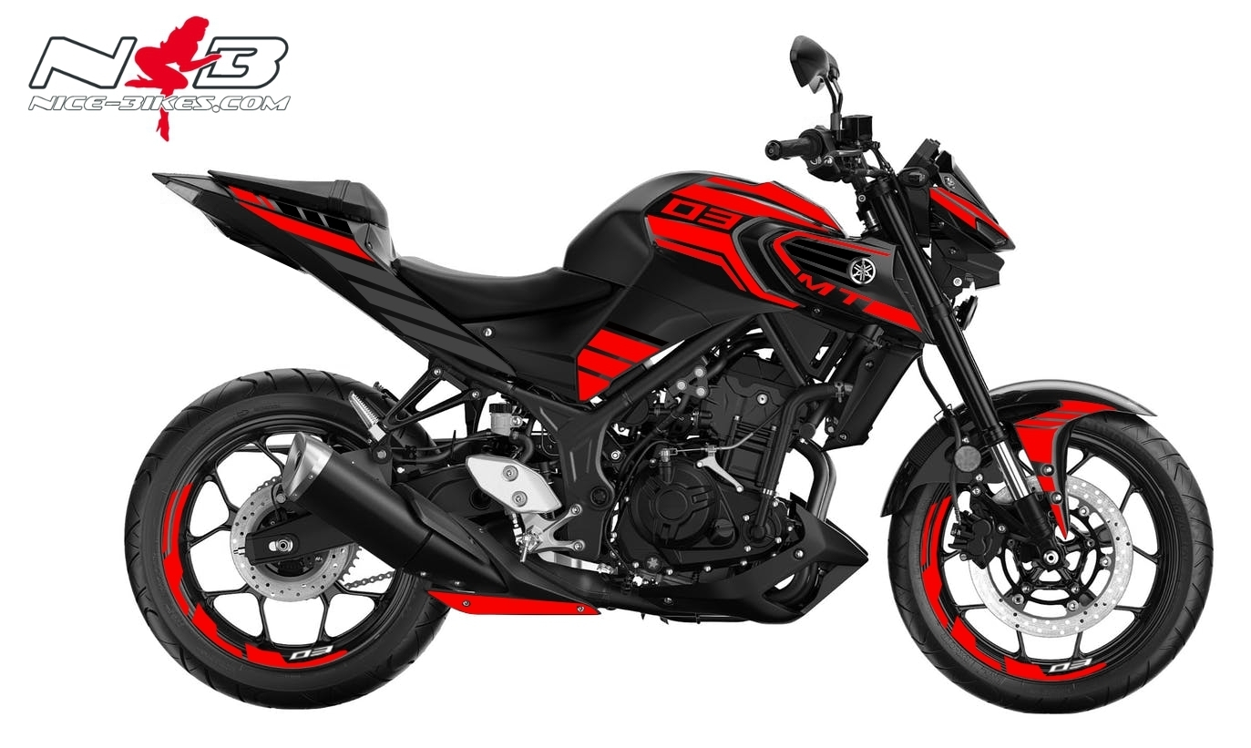 Foliendesign YAMAHA MT03 Bj. 2020 Racing Red