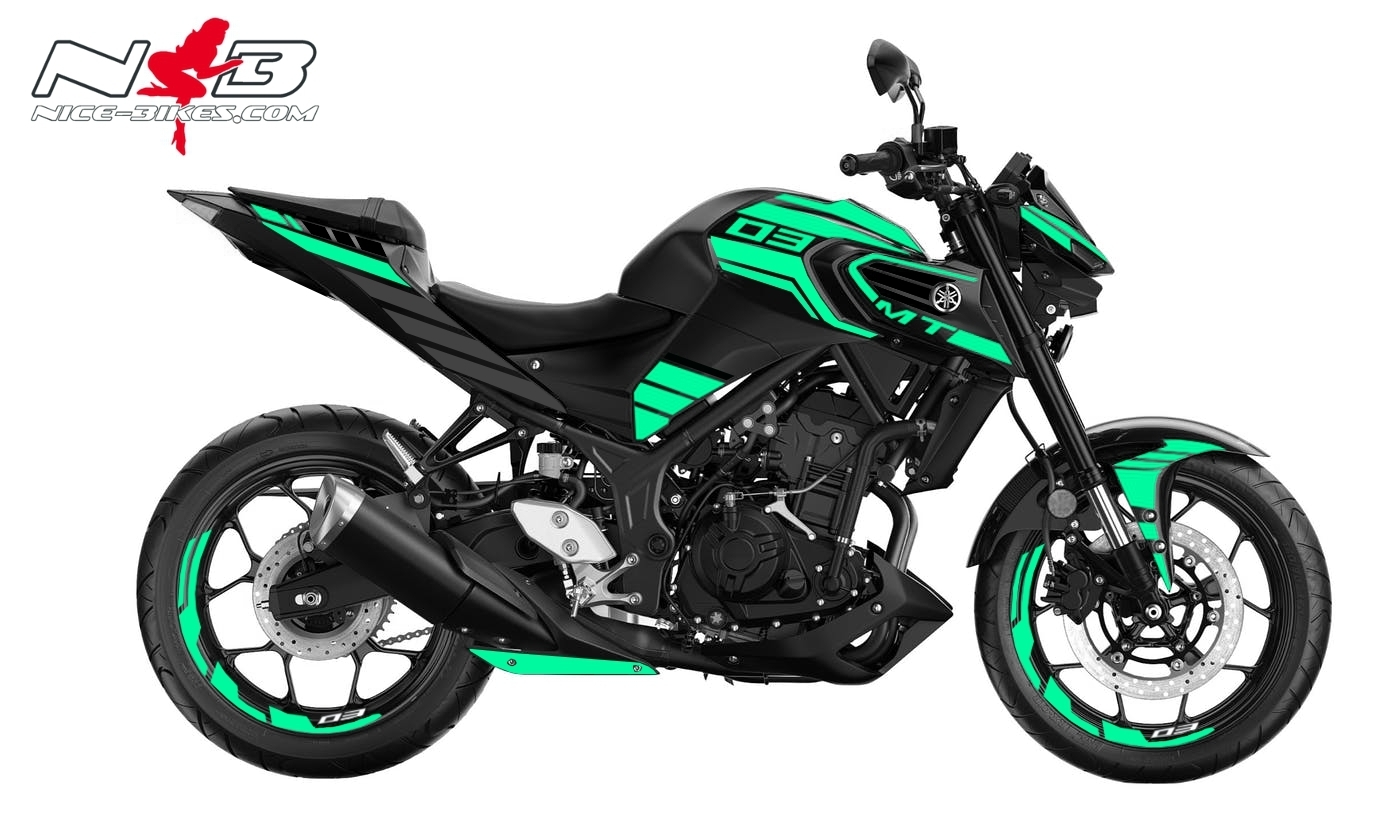 Foliendesign YAMAHA MT03 Bj. 2020 Mint Blue