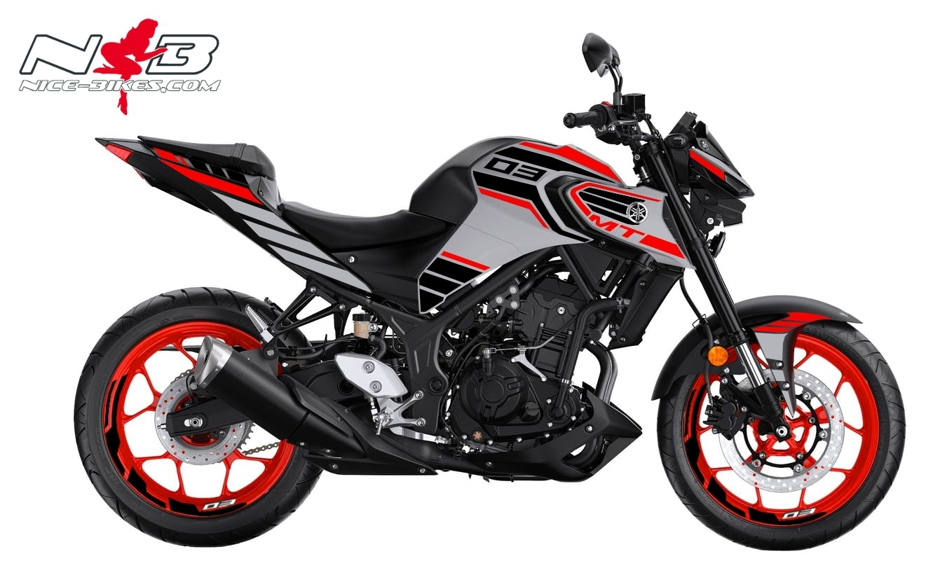 Foliendesign YAMAHA MT03 Bj. 2020 Racing Red Fluo