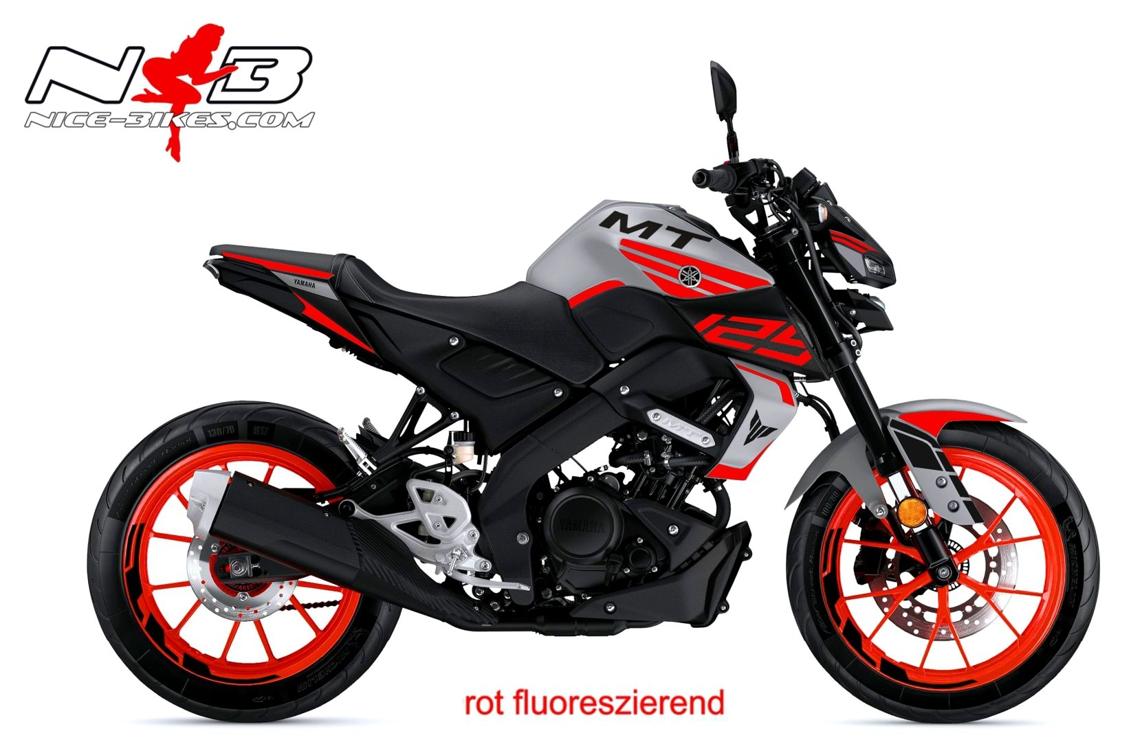 Foliendesign YAMAHA MT125 Bj. 2020 Racing Red Fluo
