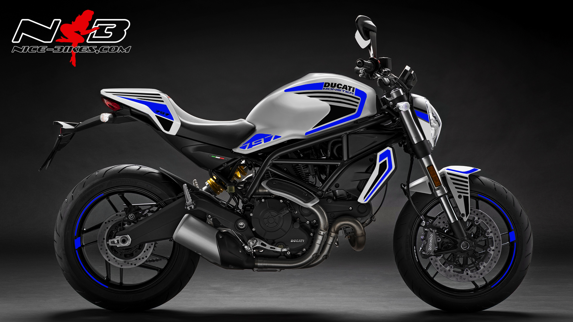 Foliendesign DUCATI  Monster 797 Bj. 2020 Racing Blue