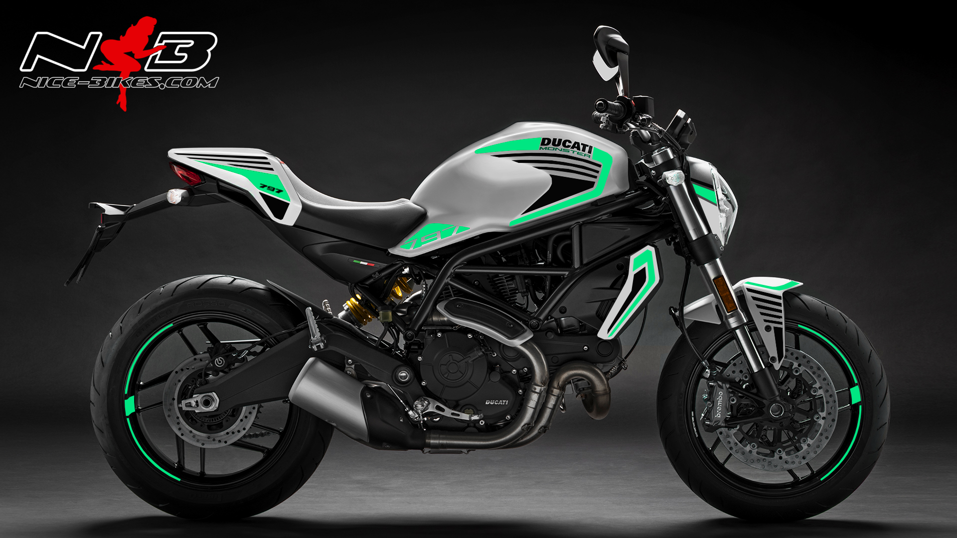 Foliendesign DUCATI  Monster 797 Bj. 2020 Mint Blue
