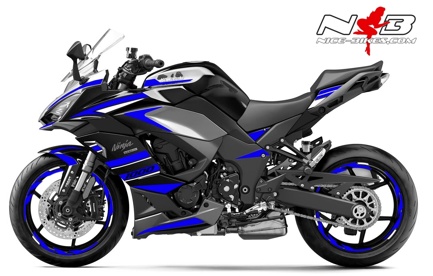 Foliendesign Kawasaki Z1000SX Racing Blue