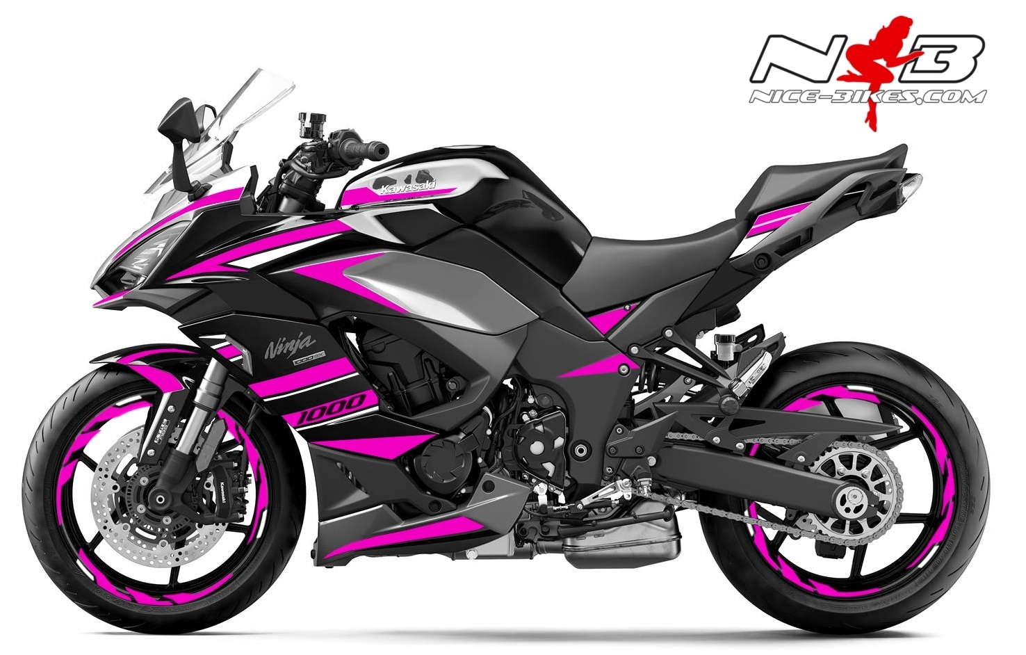 Foliendesign Kawasaki Z1000SX Pretty Pink