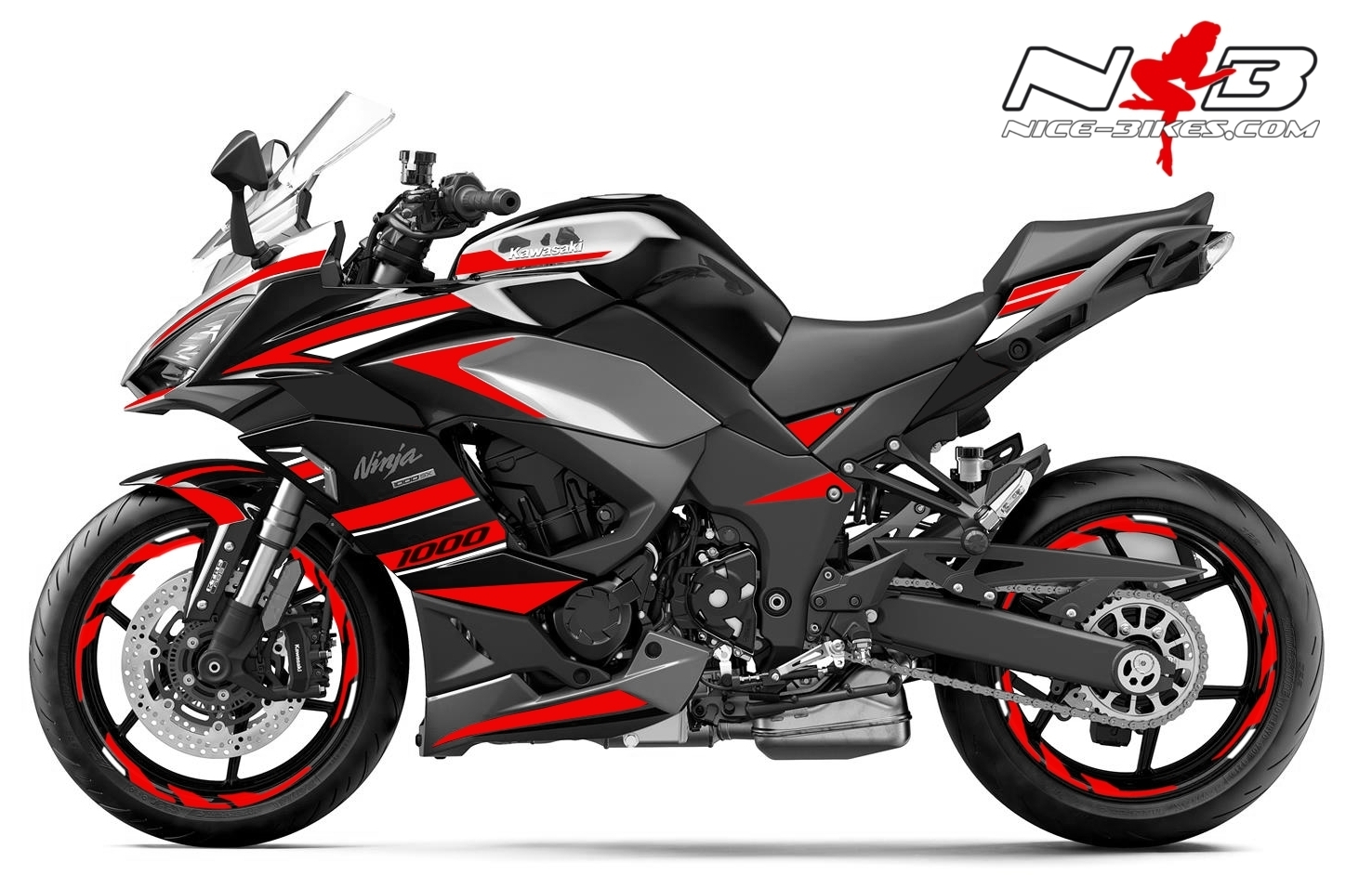 Foliendesign Kawasaki Z1000SX Racing Red