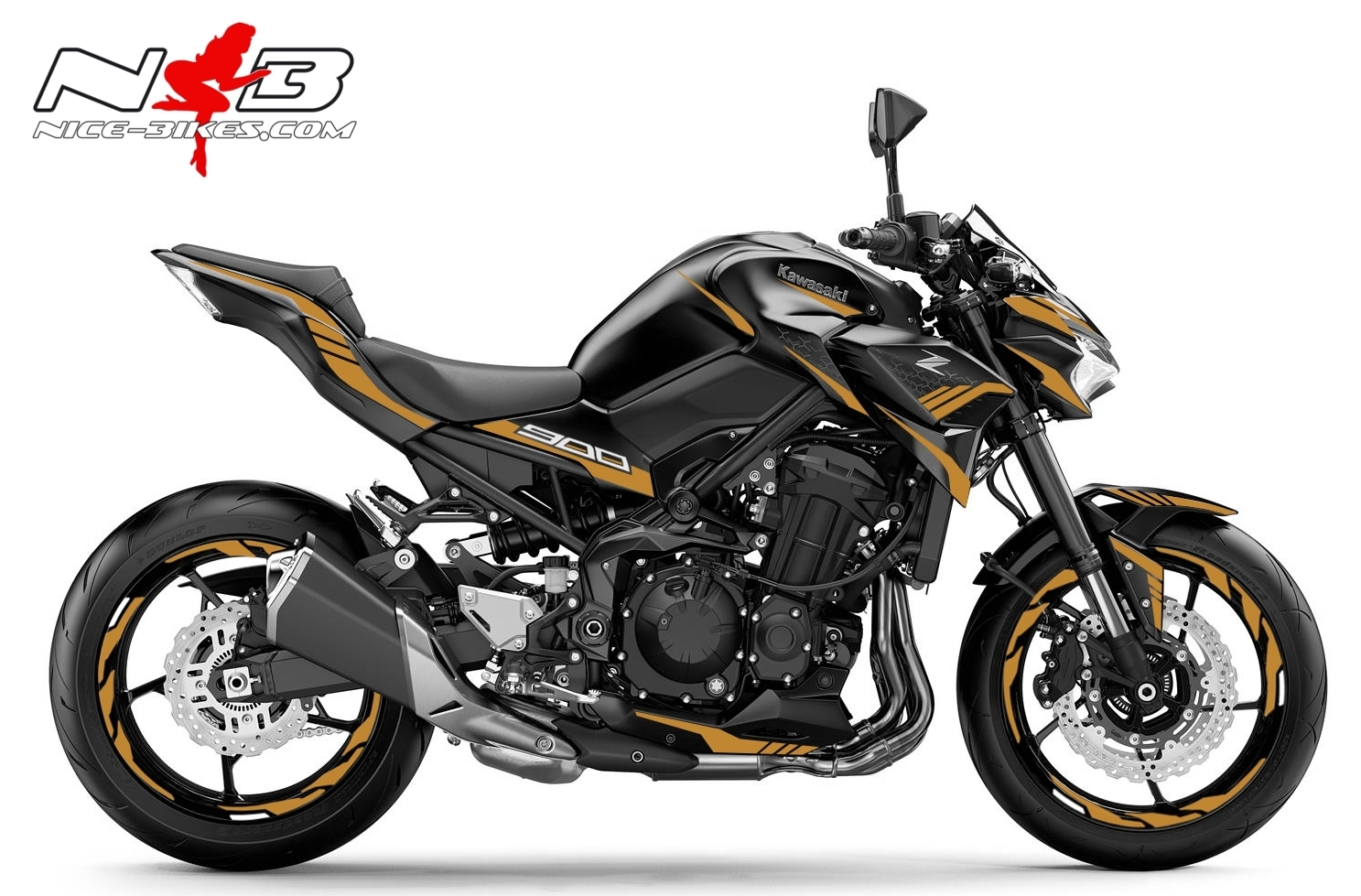 Foliendesign Kawasaki Z900 Bj. 2020 Olympic Gold