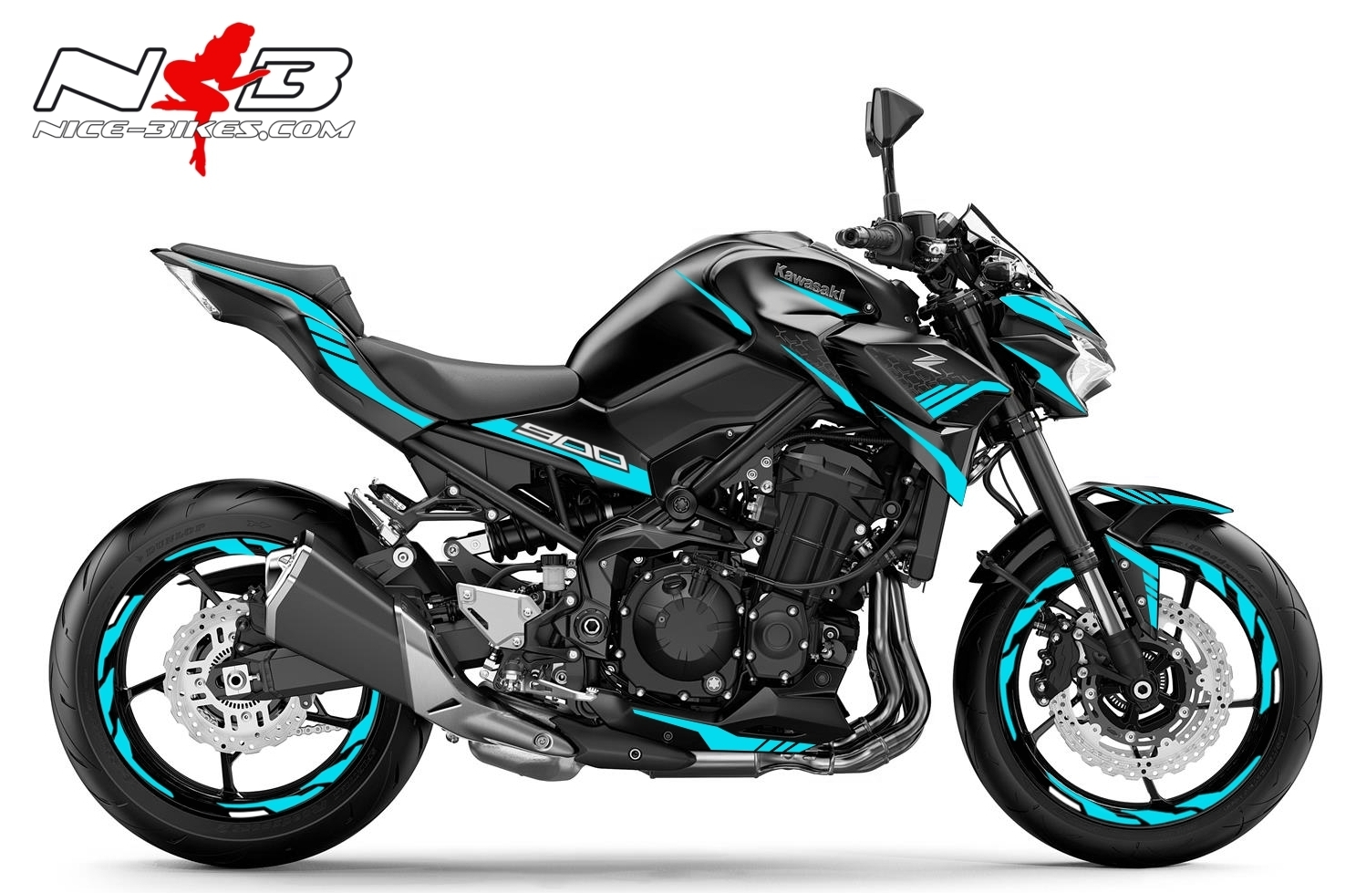 Foliendesign Kawasaki Z900 Bj. 2020 Light Blue