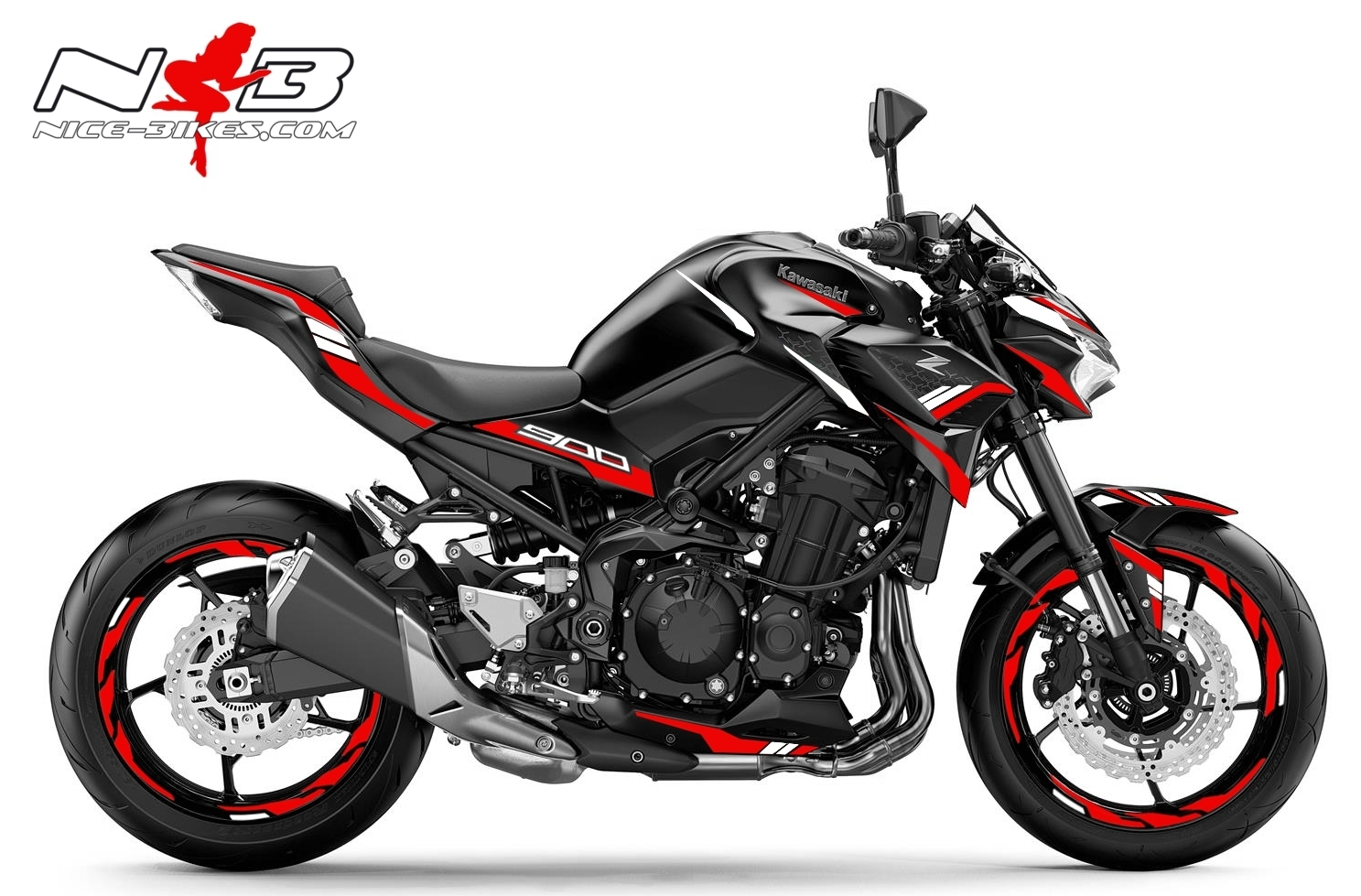 Foliendesign Kawasaki Z900 Bj. 2020 Racing Red