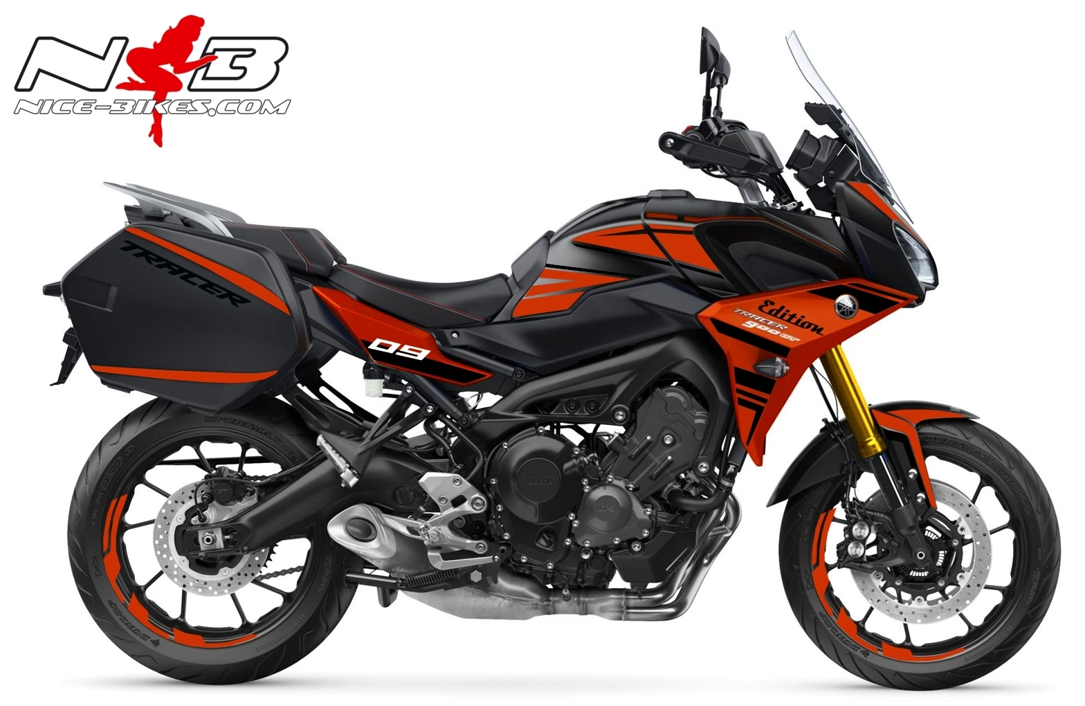 Foliendesign YAMAHA MT09 Tracer Bj. 2020 Racing Red