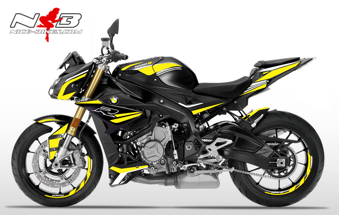 Foliendesign BMW S1000R (Bj. 2020) Hornet Yellow-White
