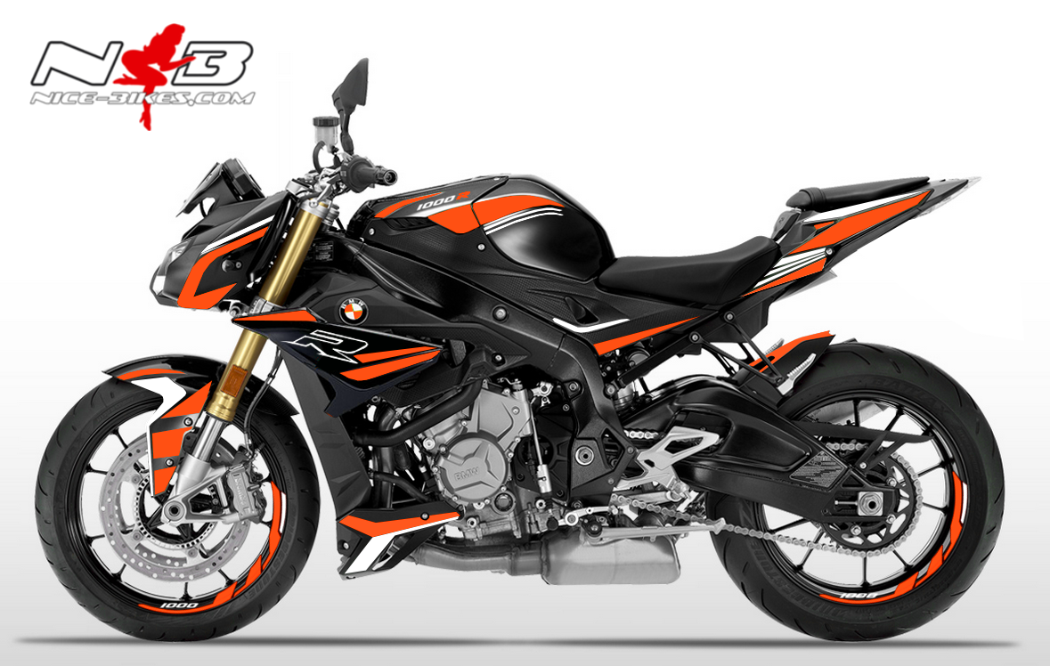 Foliendesign BMW S1000R (Bj. 2020) Evil Orange-White