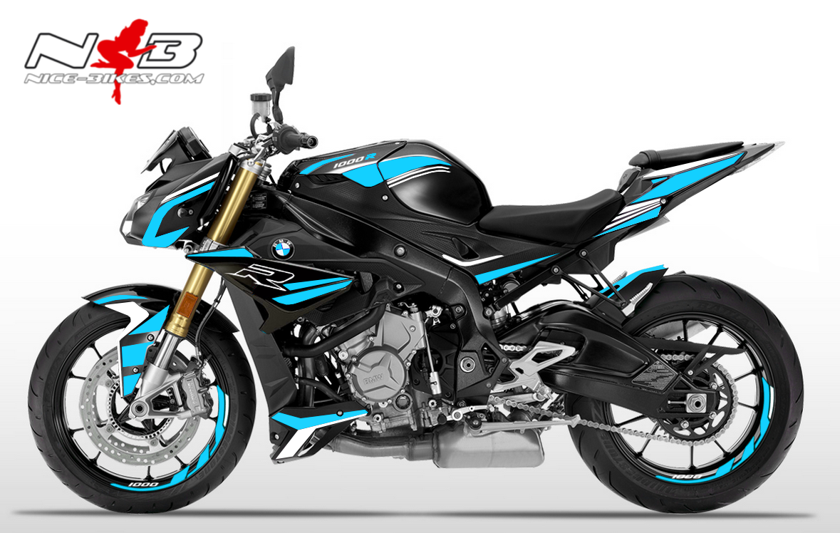 Foliendesign BMW S1000R (Bj. 2020) Light Blue-White