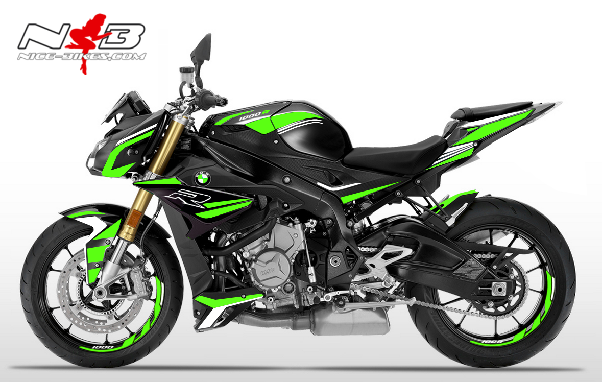Foliendesign BMW S1000R (Bj. 2020) Lime Green -White