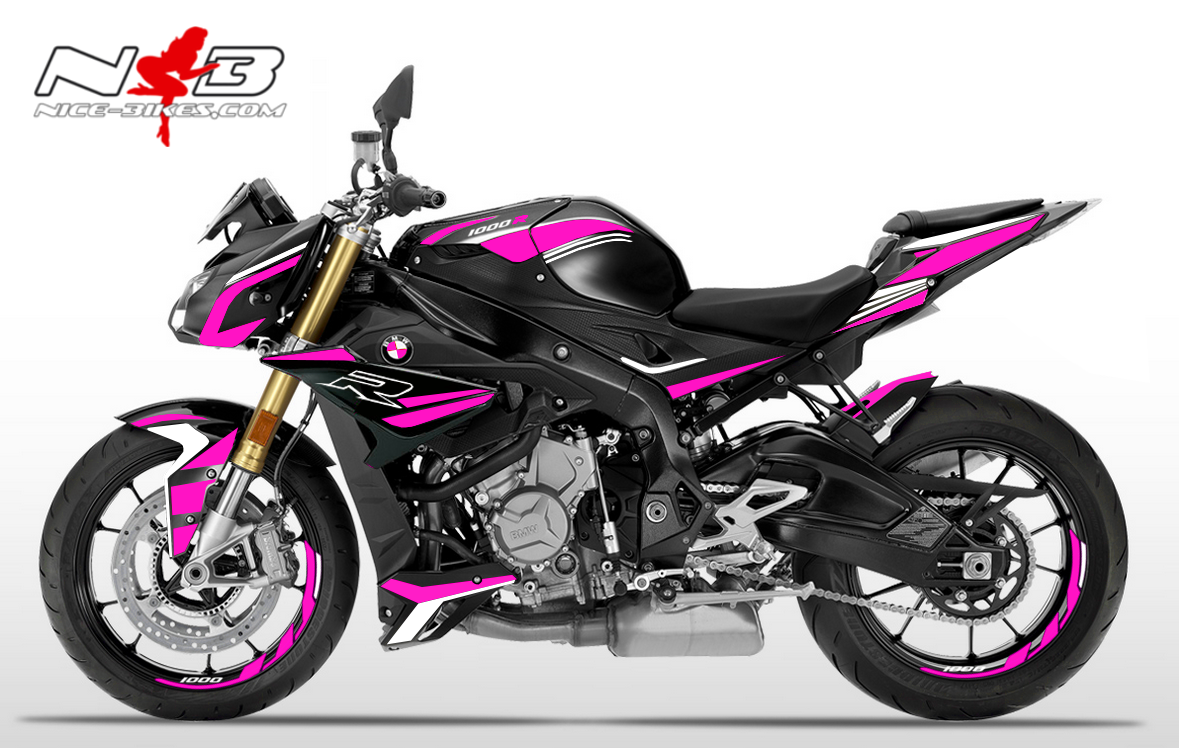 Foliendesign BMW S1000R (Bj. 2020) Pretty Pink -White